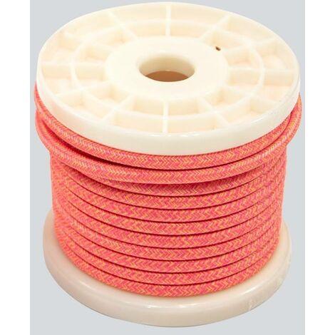 Cable eléctrico decorativo textil estilo nórdico 2X0,75 color tigre (rosa y amarillo)
