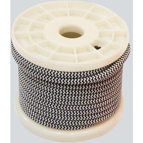 Cable eléctrico decorativo textil estilo nórdico 2X0,75 zigzag blanzo y negro