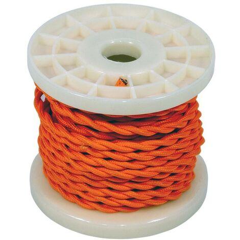 Cable eléctrico decorativo trenzado textil 2X0,75 naranja