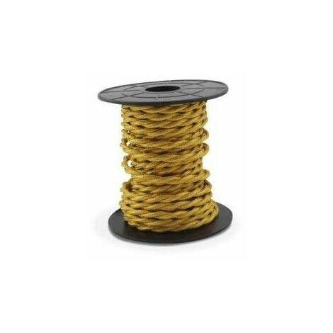 Cable eléctrico textil 10 metros 2x0.75mm trenzado Dorado GSC 3902982