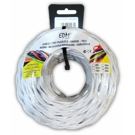 Cable eléctrico textil trenzado 2x2,5 blanco 25m