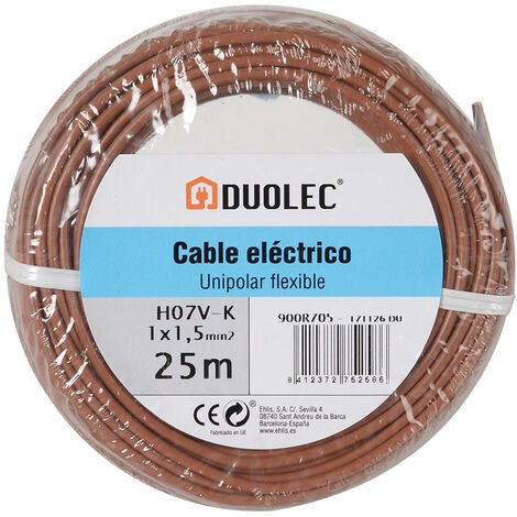 Cable eléctrico unipolar 25 mts - varias tallas disponibles