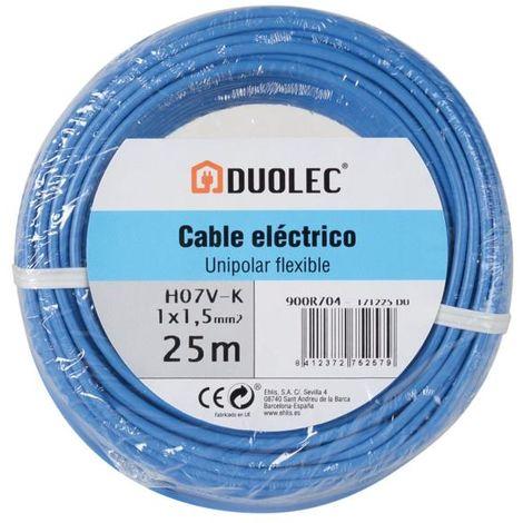 Cable eléctrico unipolar 25 mts - varias tallas disponibles