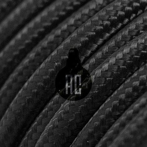 Câble électrique 3 mt vintage rond recouvert de tissu noir couleur ax610b