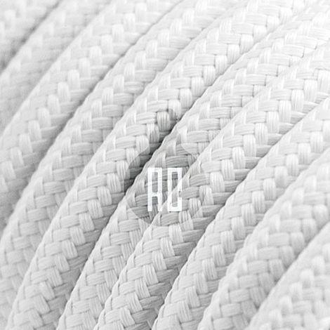 Câble électrique vintage rond de 3 mt recouvert de tissu couleur blanc ax601b