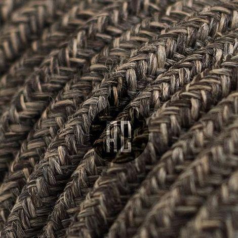 Câble électrique vintage rond de 3 mt recouvert de tissu couleur chromée ax649b