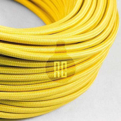 Câble électrique vintage rond de 3 mt recouvert de tissu couleur jaune ax606b