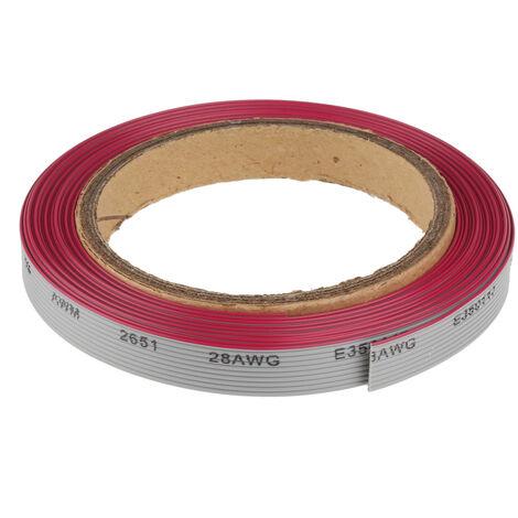 Câble en nappe, 20 voies, larg. 25,4 mm, pas de 1.27mm, Multicolore, 10m
