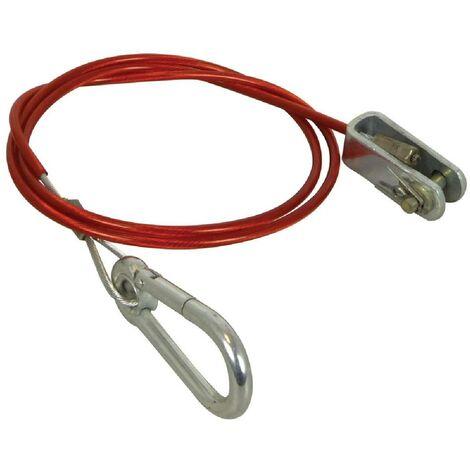 Cable frein securite remorque avec mousqueton 1m 1500N 150kg