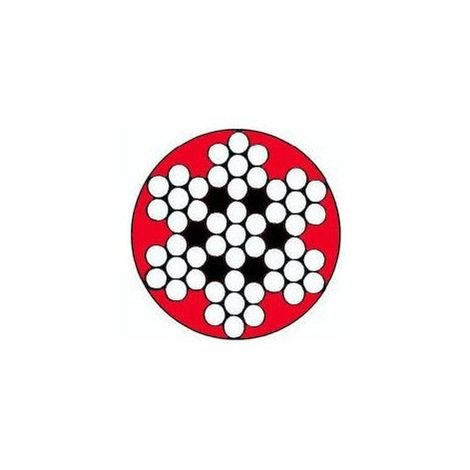 Câble galva PVC 7 torons de 7 fils rouge - Diamètre : 5mm - Longueur : 1000 mètres