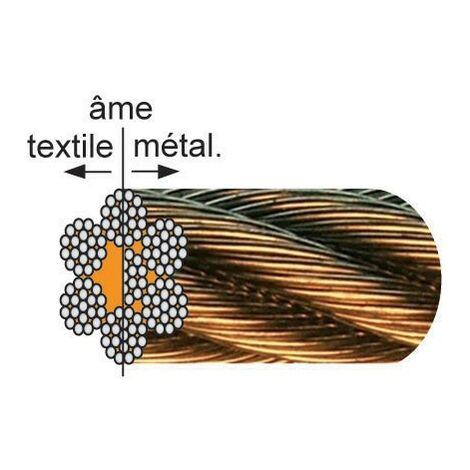 Câble galvanisé âme métallique LEVAC - 7x19 fils - Ø10 mm - CRM 6424 Kg - 1022JGE200