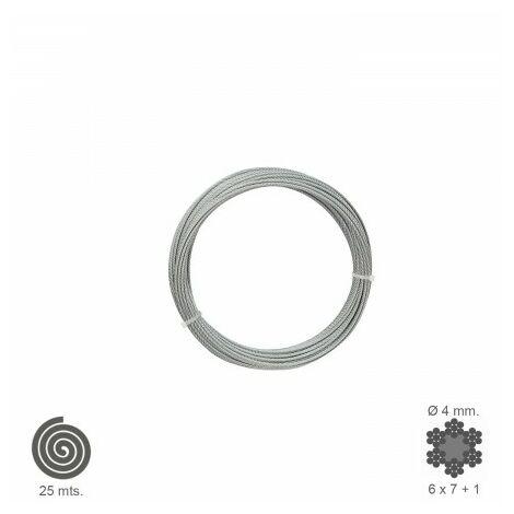 Cable Galvanizado 4 mm. (Rollo 25 Metros) No Elevacion