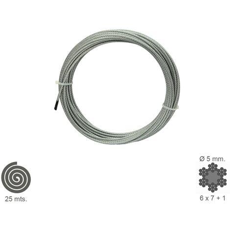 Cable Galvanizado 5 mm. (Rollo 25 Metros) No Elevacion