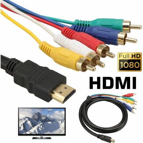 Câble HDMI vers RCA, Câble adaptateur convertisseur HDMI vers 5 RCA, 1080P HDMI vers AV HDTV Adaptateur de convertisseur audio vidéo composite RCA pour TV HDTV