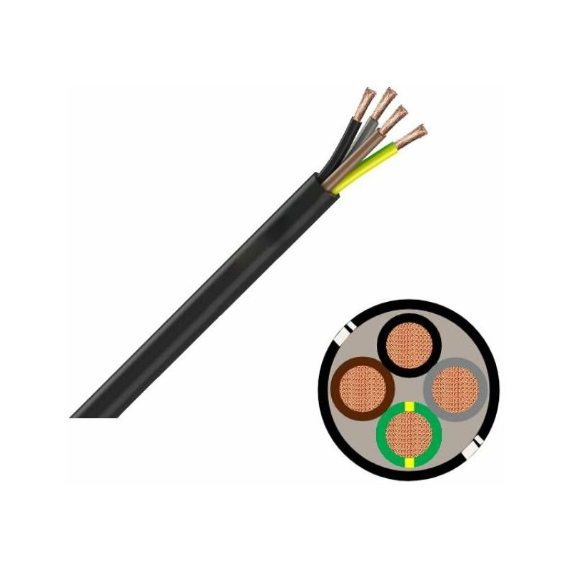 Couronne de 50 m 3G2,5 mm/² C/âble souple industriel H07 RN-F noir Sermes