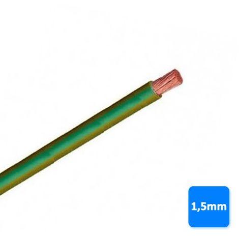 Cable libre de halógenos 1,5mm amarillo y verde POR METROS H07Z1-K AS 750V
