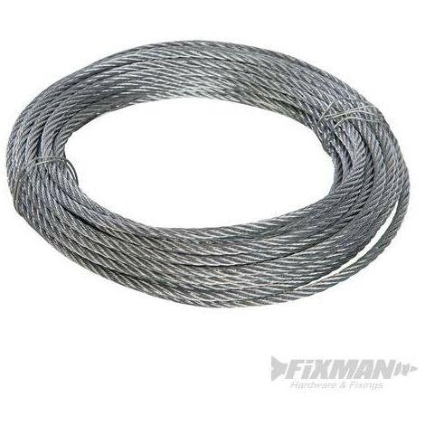 Câble métallique galvanisé, 6 mm x 10 m