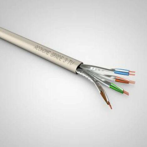 Câble multimédia grade 3 - Acohome TV 4P LSOH - Vendu au mètre - Ivoire