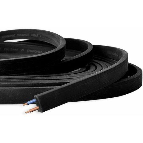 Câble Noir Plat pour Guirlande LED au mètre 2x1.5MM