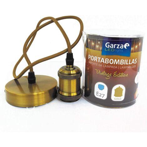 Cable pendant portabombillas Vintage Gold, cable textil, casquillo E27 cable textil 1metro