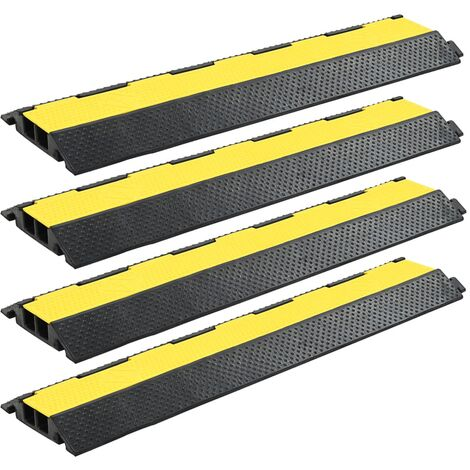 Cable Protector Ramps 4 pcs 2 Channels Rubber 101.5 cm
