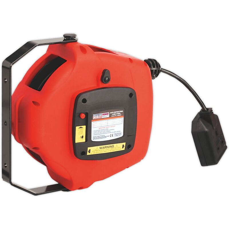 Sealey CRM15 Cable Reel System Retractable 15m 2 x 230V Socket