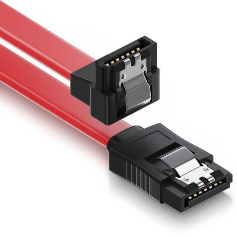 Cable sata acodado con anclajes 0.50 M Rojo