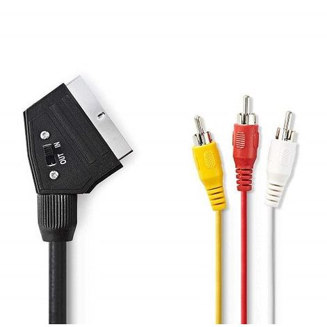 Cable SCART RCA conmutable 2 M Negro