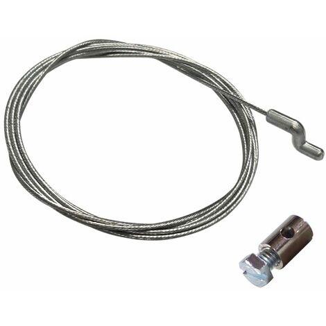 Cable souple acier universel tondeuse avec serre-cable 6x9mm idéal manette gaz accélérateur 1900mm tête en S Z motoculture