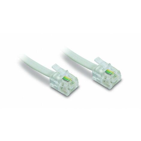 Câble téléphonique Plat RJ11 mâle/mâle 2 m - blanc