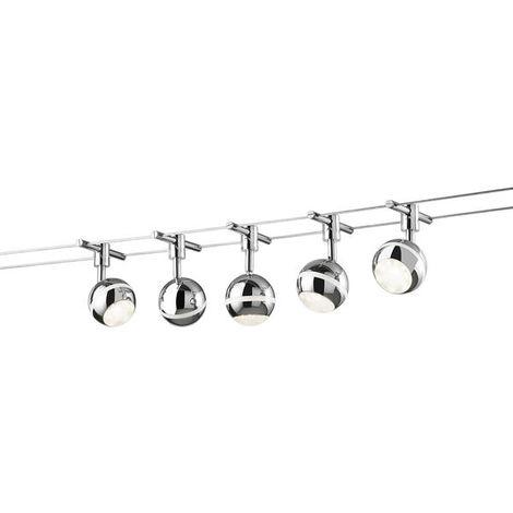 Cable tendu 5 lampes led Trio Chrome Métal 778210506