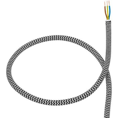 Cable Textil Blanco y Negro
