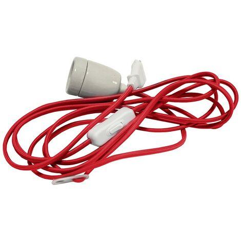 Cable textil rojo con enchufe E27 y enchufe