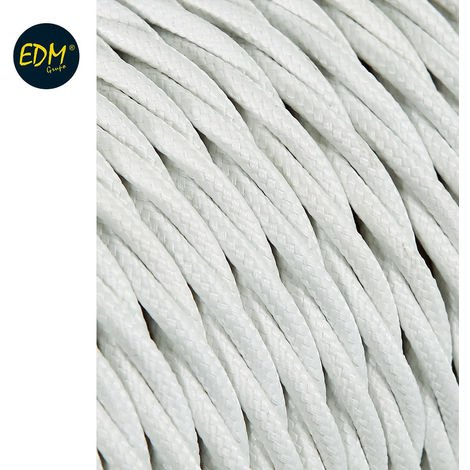 Cable textil trenzado 2x0,75mm 25mts blanco euro/mts