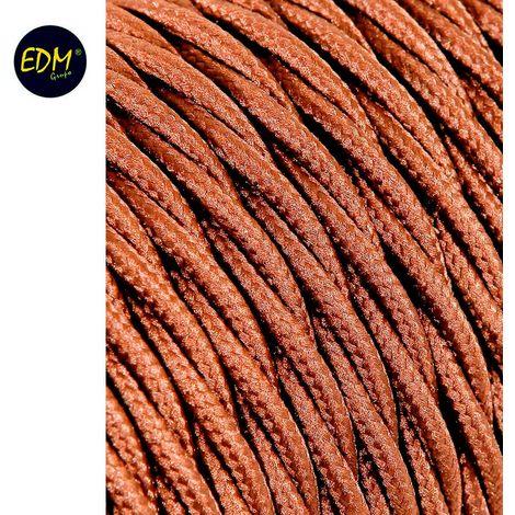 Cable textil trenzado 2x0,75mm 25mts c-20 marron seda euro/mts