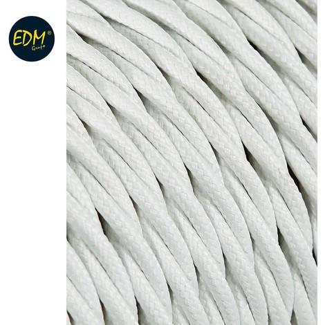 Cable Textil Trenzado 2X0.75Mm C-01 Aluminio Seda Color Blanco 5M - NEOFERR