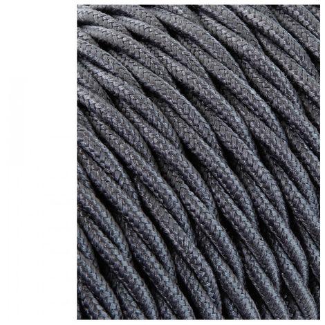 Cable Textil Trenzado 2X0.75Mm C-63 Gris Oscuro Seda 25M (Precio por Metro) - NEOFERR