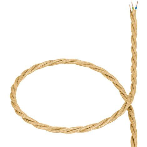 Câble Textile Tressé Doré