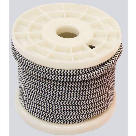 Câble textile zig zag 2 couleurs 2 x 0,75 bobine