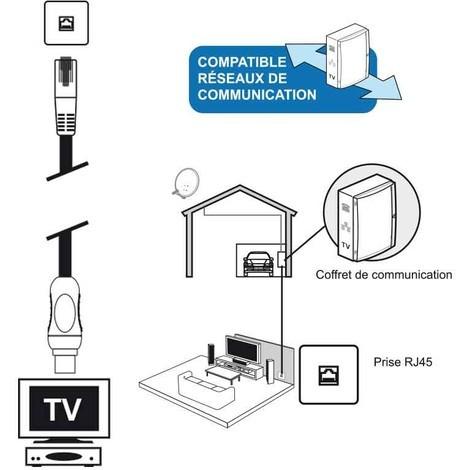 Câble TV coaxial 9,52 mm mâle/RJ45 mâle 5 m