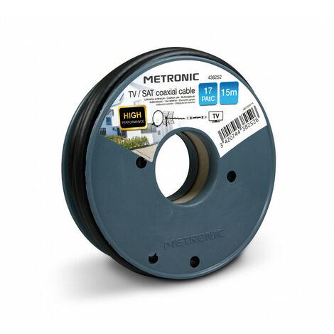 Câble TV coaxial bobine 17 PAtC 15 m - noir