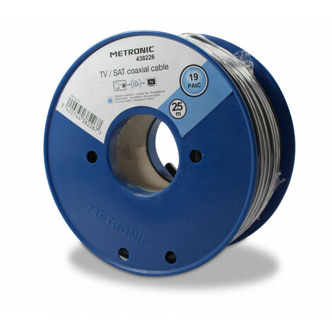 Câble TV coaxial bobine 17 PAtC 25 m - noir