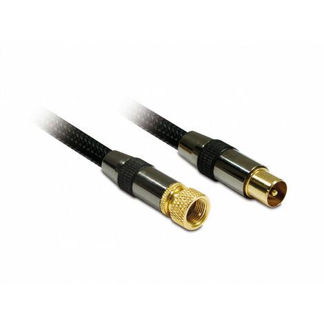 Câble TV premium coax. F/9,52 mm mâle/mâle dorées gaine tressée 1,5 m