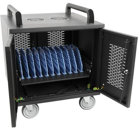 cablematic - Chariot de chargement pour 10 ordinateurs portables et tablettes noir