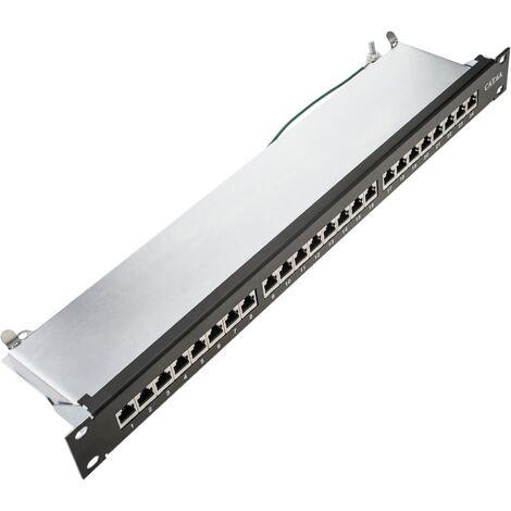 cablematic - Patch panel rack 24 RJ45 Cat.6A FTP 1U negro con peine para gestión de cables