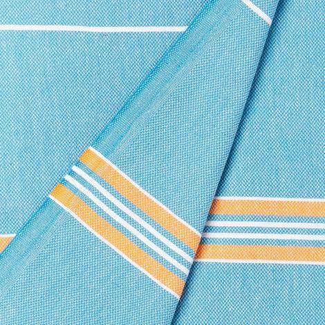 Cacala Paradise, telo da bagno collezione Turca, Cotone, Turquoise Blue Orange, 95 x 175 x 0.5 cm