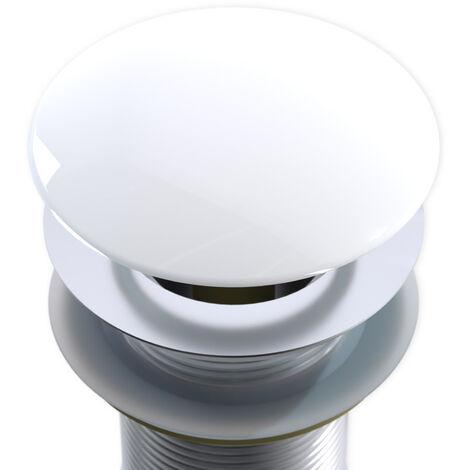 Cache bonde pour vasque - couvercle pour bonde Pop Up en blanc brillant