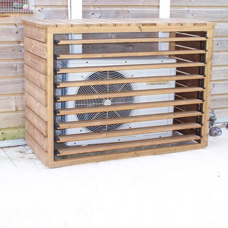 Cache climatiseur extérieur en bois massif traité très haute température - Foresta