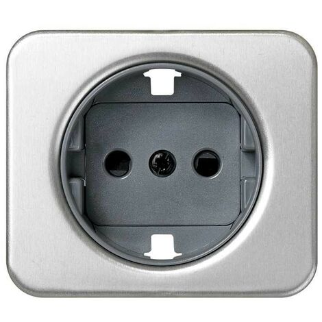 Cache-fiche 2P + TT côté aluminium SIMON 75041-63