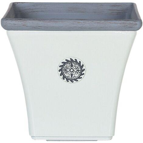 Cache-pot blanc et gris en fibre d'argile 32 x 32 cm